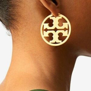 NEW Tory Burch Metallic Miller Hoop Earrings